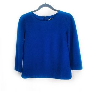 4/20$LORD & TAYLOR Royal Blue 3/4 Sleeve Boxy Top